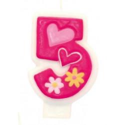 Свічка для торта Цифра 5 Girls