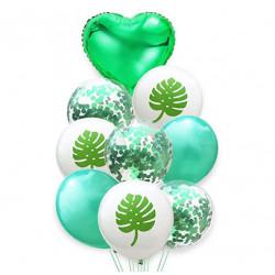 Набор воздушных шариков Листья монстеры с  конфетти