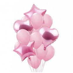 Набор воздушные шарики Розовые неоновые латекс + фольга