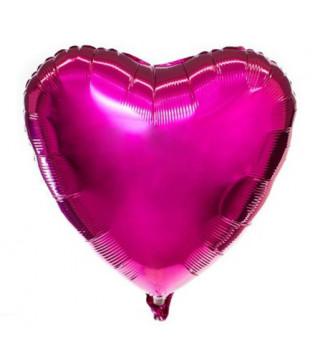 Воздушный шарик фольгированный Сердце фуксия