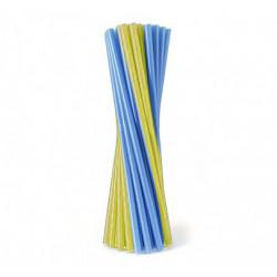 Соломка фреш для коктеля 25шт./уп.Синя-жовта пластик BA-33028