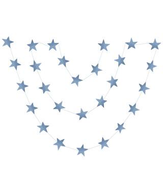 Гирлянда Звездочки бирюзовые с глиттером