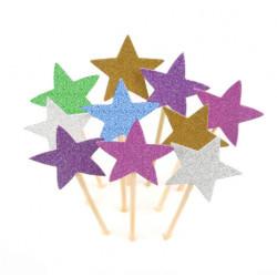 Топпер звезды с блестками ассорти