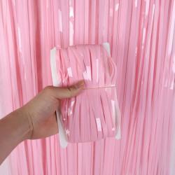 Шторка из дождика розовая-бэйби