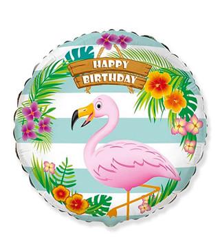 """Повітряна кулька фольгована з малюнком 18"""" Happy Birthday Тропічний Фламінго"""
