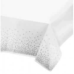 Скатертина Біла в срібний горох 137*274см Поліетилен 83412 Китай