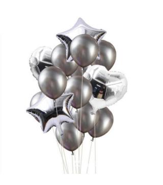 Набір кульок Срібні 14шт/уп латекс 16508 Китай