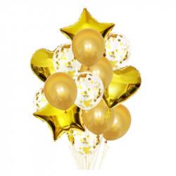 Набір кульок Золоті з конфетті 14шт/уп латекс 18324 Китай