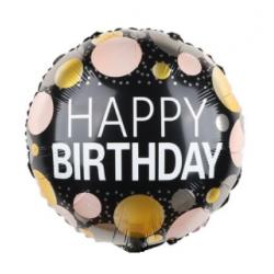 Кулька Happy birthday чорна конфеті