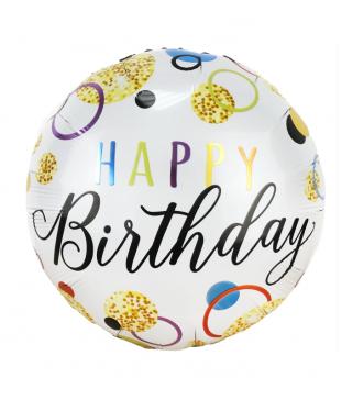 "Кульки фольг з малюнк. А18""Happy Birthday Конфетті(2,5г) 215119 Китай"