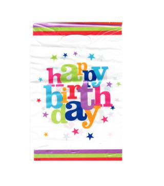 Подарунковий пакет Happy birthday кольоровий 10шт/уп