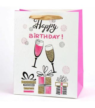 Подарунковий пакет Happy Birthday з блисківками