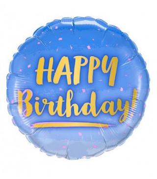 """Кульки фольг з малюнк. А18""""Happy Birthday синій золотий 2,5г) 215348 Китай"""