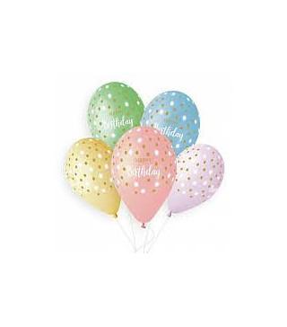 """Кульки пастель13"""" GS120HAPPY BIRTHDAY""""золоті точки50шт/уп 94045 Gemar"""