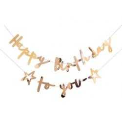 Гірлянда Happy Birthday To you золота папір,елемен.з металу,нитка 994963 Китай