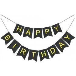 Декорація Гірлянда  флажки Happy Birthday чорна золоті букви папір 79894 Китай