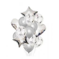 Набір кульок Срібні з конфетті 14шт/уп латекс 18323 Китай