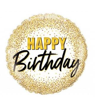 """Кульки фольг з малюнк. А18""""Happy Birthday золоте дрібне конфеті 2,5г) 215349 Китай"""