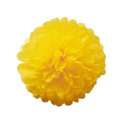 Декорація Помпон жовтий  35см 1шт/уп. папір 00639 Польща