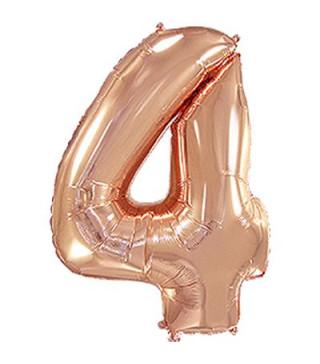 Кульки Цифра 4 роз-золото (8пор) 901764(RG) FlexMetal