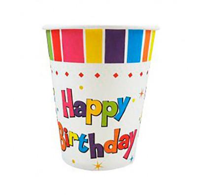 Стаканчики Happy Birthday 8шт/уп