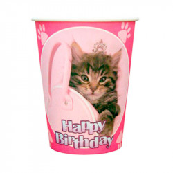 Стаканчики котик Happy birthday