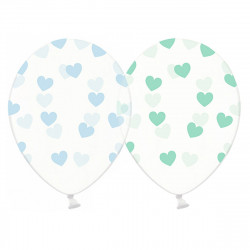 Кульки з малюнком в серця мятні - блакитні