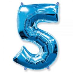 """Кулька цифра 5 синя 40""""(96см)"""