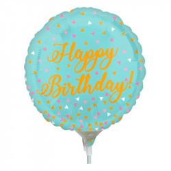 Кульки міні Happy Birthday авамарин