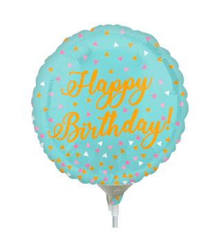 Шарики мини Happy Birthday авамарин