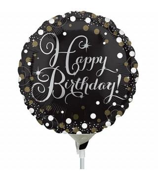 Шарики мини Happy Birthday черная конфетти