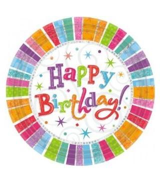 Тарілочки Happy Birthday, кольорові