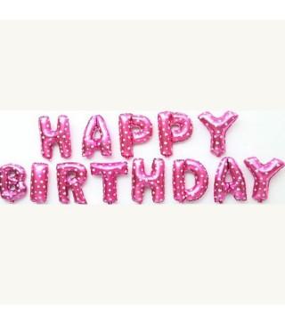 Шарики-буквы Happy Birthday розовые