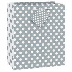 Подарунковий пакет Срібний в білий горох