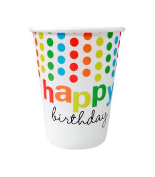 Стаканчики Happy birthday цветной горох 8 шт/уп