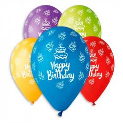 Шарики пастель Happy Birthday тортики 100 шт/уп