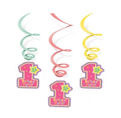 Підвіски 1st Birthday Girl 5 шт/уп