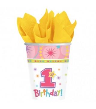 Стаканчики 1-й День народження дівчинки 8шт/уп.