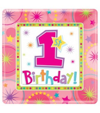 Тарелки 1-st Birthday girl 8шт/уп