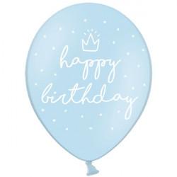 Шарики Happy Birthday голубые