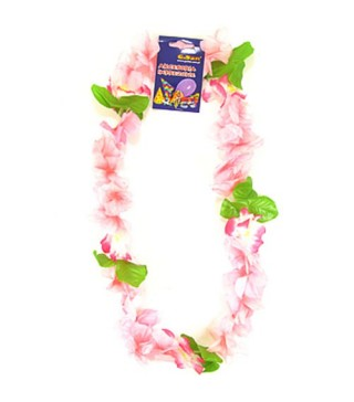 Леї гавайські на шию рожева з листочками