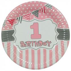 Тарелки 1-st Happy Birthday (розовая) 8 шт / уп