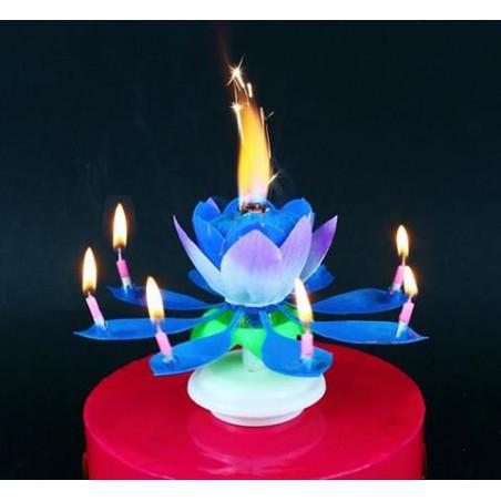 Свеча для торта Лотос музыкальная синяя 1шт/уп