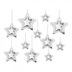 Декорация 3D звезда (серебрянная)