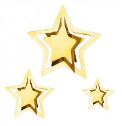 Декорация подвеска 3D звезда (золотая)