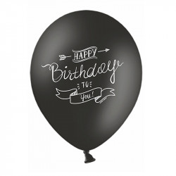 Кульки Happy Birthday чорно-білі