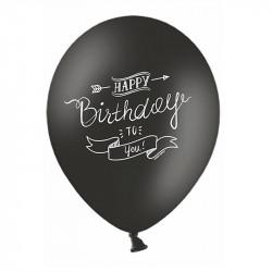 Шарики Happy Birthday черно-белые