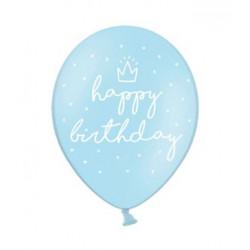 "Кульки пастель 14"" Happy Birthday блакитні. 50шт/уп латекс 74454 PartyDECO"