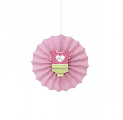 Бумажный веер (фант) детский розовый