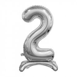 Кулька Цифра 2 на підставці срібна
